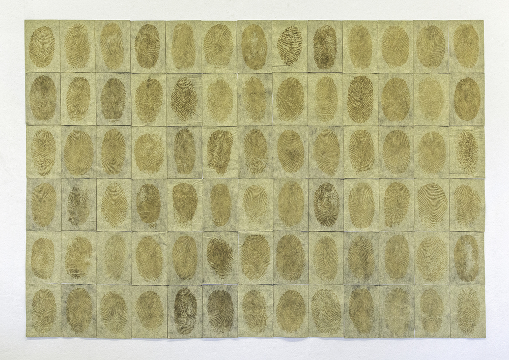 """Collection of Strangers. 2015.laser engraved felt, pins, 57"""" x 78"""""""