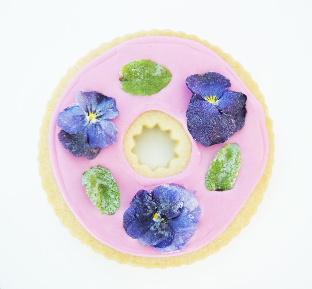 candied flower shortbread cookie