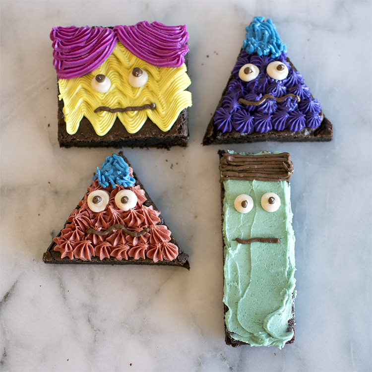 Monster Brownies free from scary dyes, decorated with naturally colorful frosting.