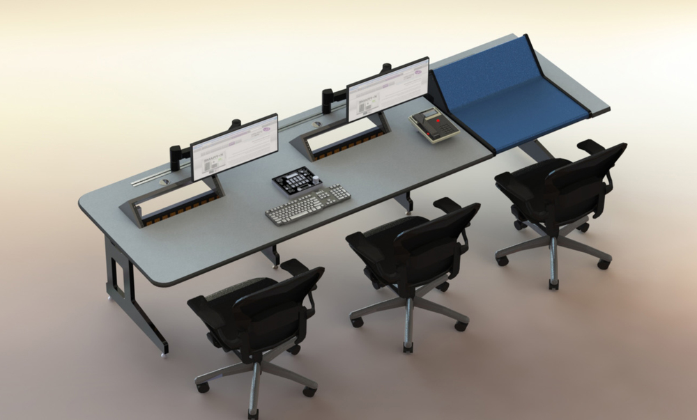 Kilo series desk with integrated video switcher or audio mixer.