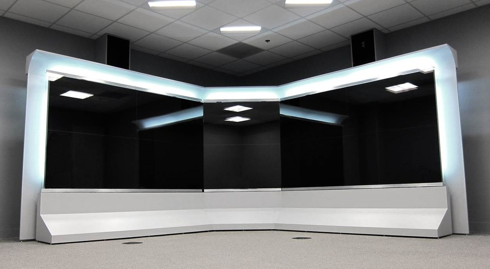 Video teleconferencing wall.