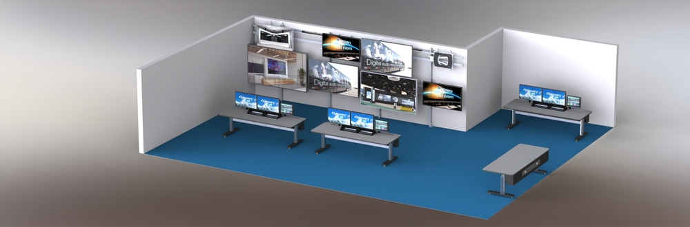 Video Lab with Zephyr Consoles and configurable monitor grid