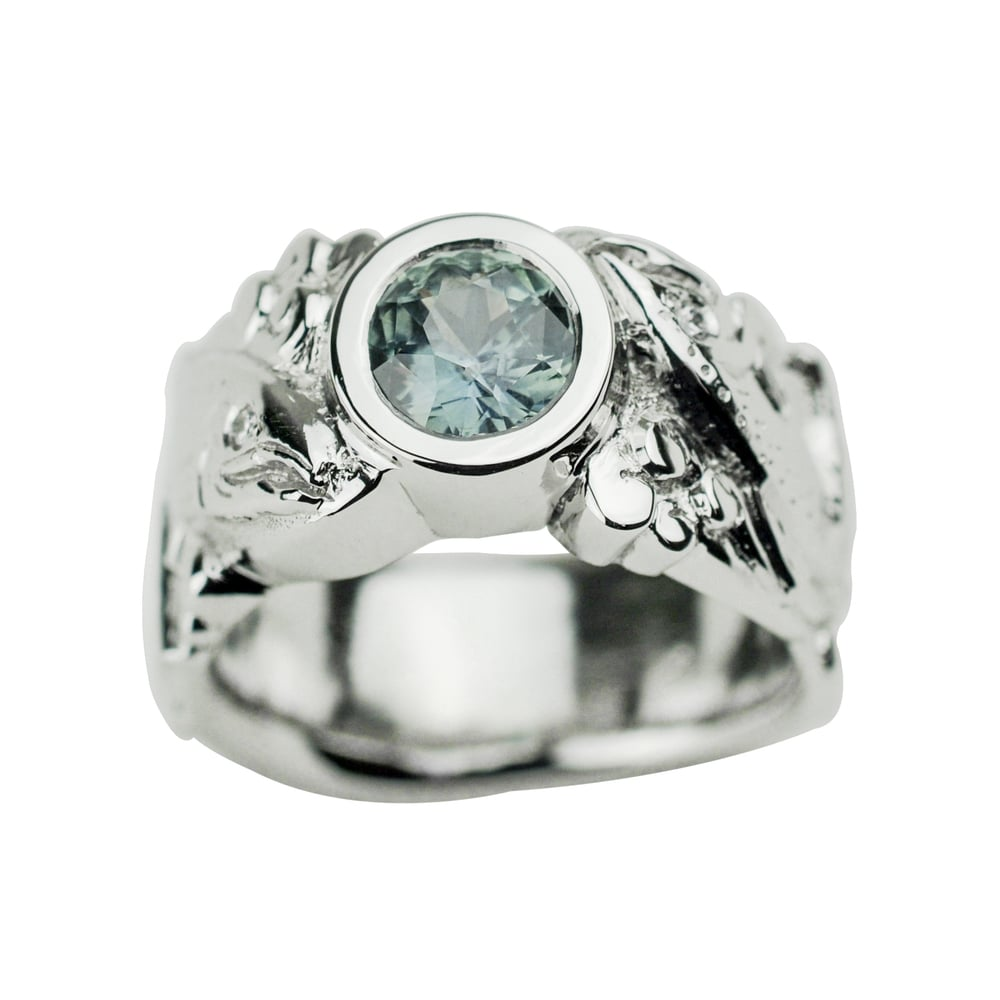 Platinum Salmon Ring with Montana Sapphire and Diamonds