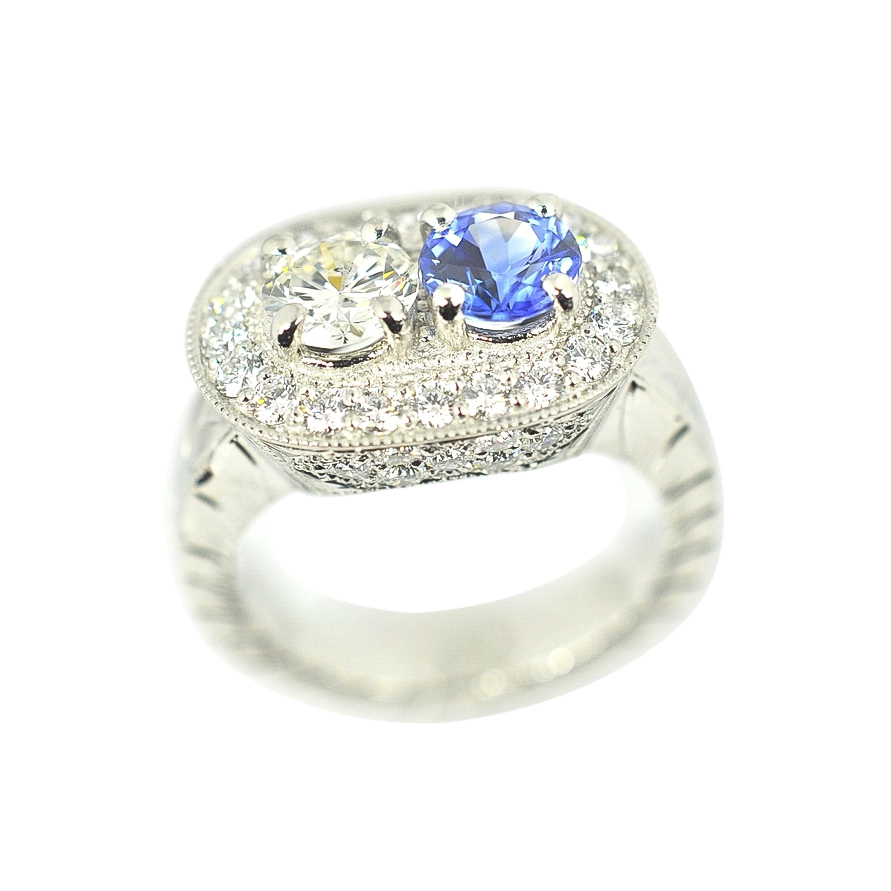 Diamonds and Sapphire Platinum Ring by Waylon Rhoads Jewelry
