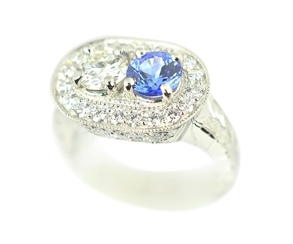 Diamonds and Sapphire Platinum Ring by Waylon Rhoads Jewelry