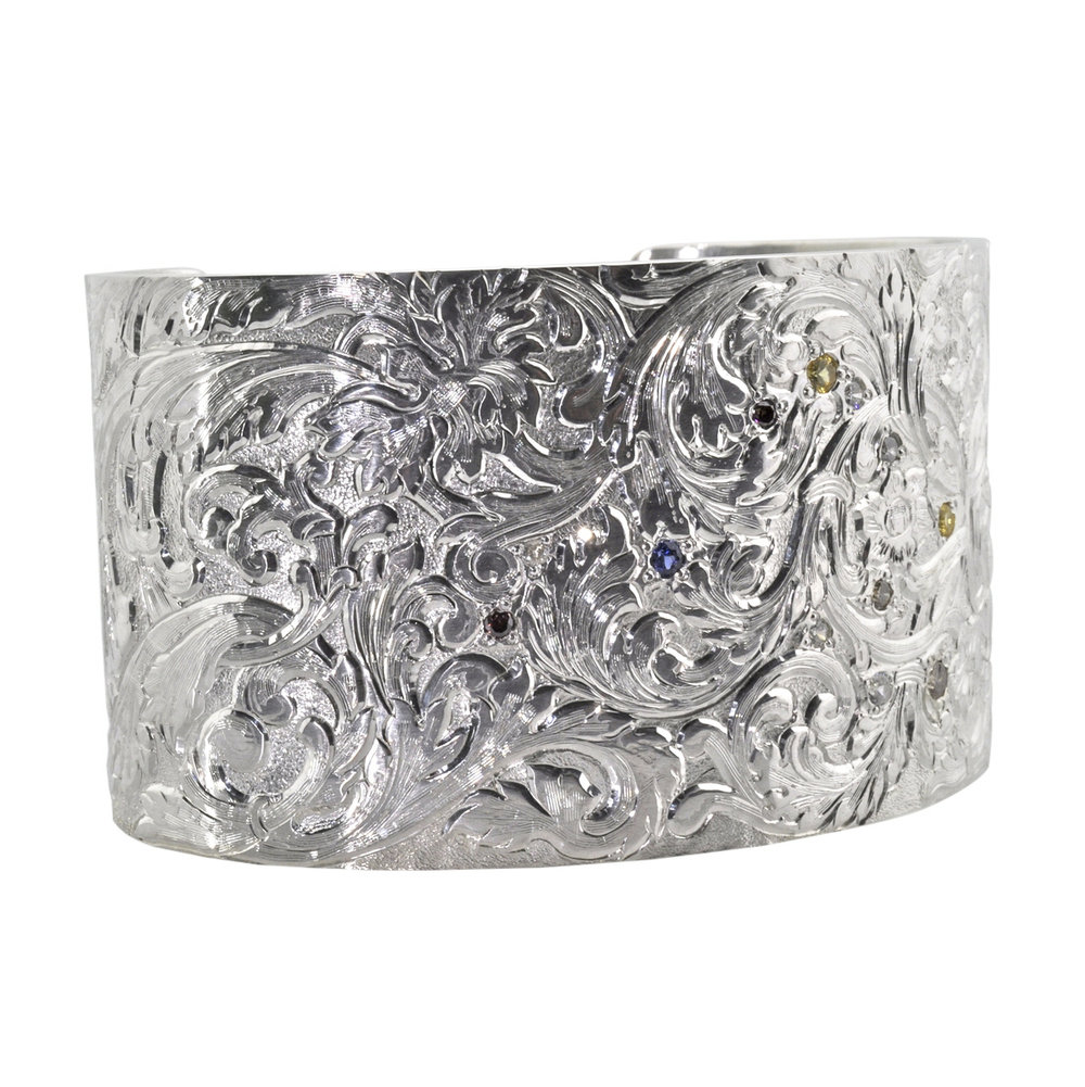 Hand Engraved Sterling Silver Cuff with Scrolls, Sapphires and Diamonds
