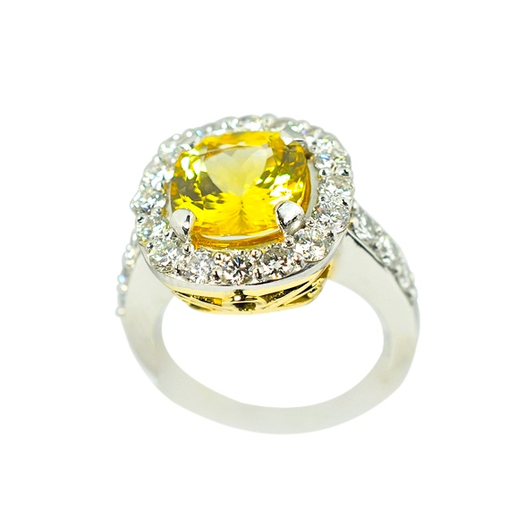 3.36ct Yellow Sapphire and Diamond Ring by Waylon Rhoads Jewelry