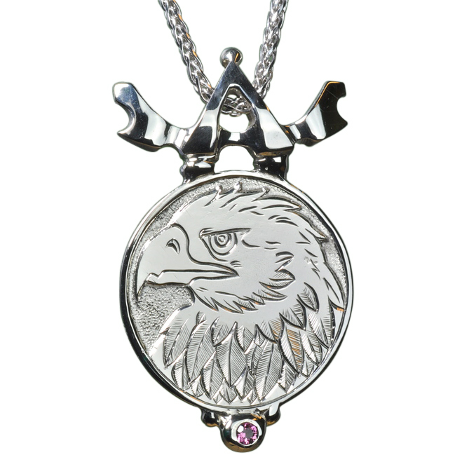 Custom Made 14k White Gold Pendant with Hand Engraved Eagle Head