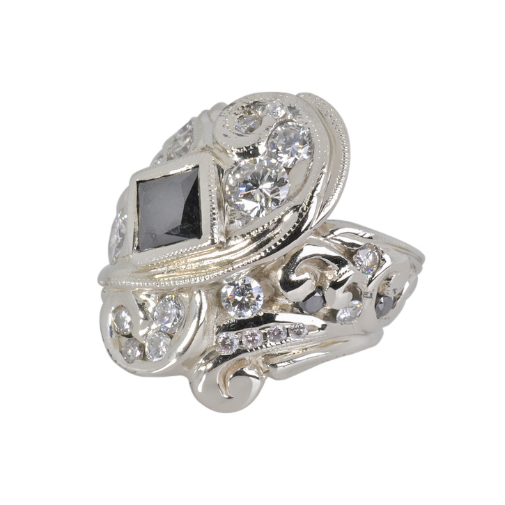 14k White Gold Ring with Diamonds and Black Diamond by Waylon Rhoads Jewelry