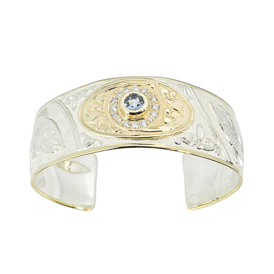 Silver and Gold Hand Engraved Cuff with Aquamarine and Diamonds