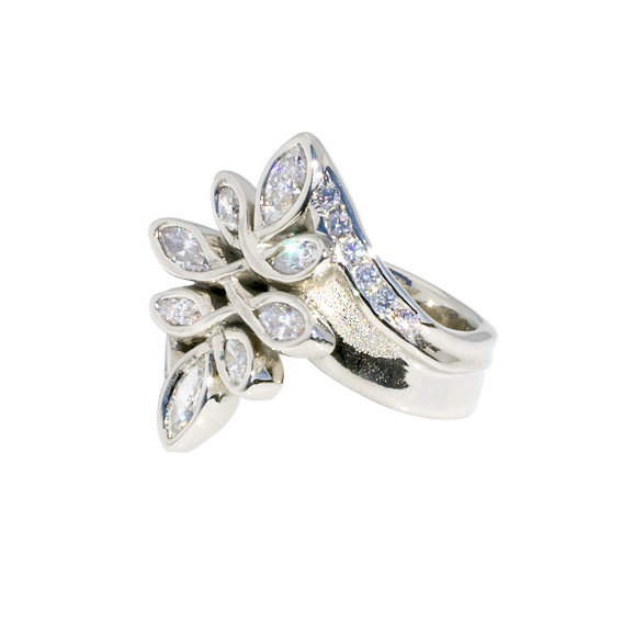14k White Gold Ring with 2.5cttw Diamonds by Waylon Rhoads Jewelry