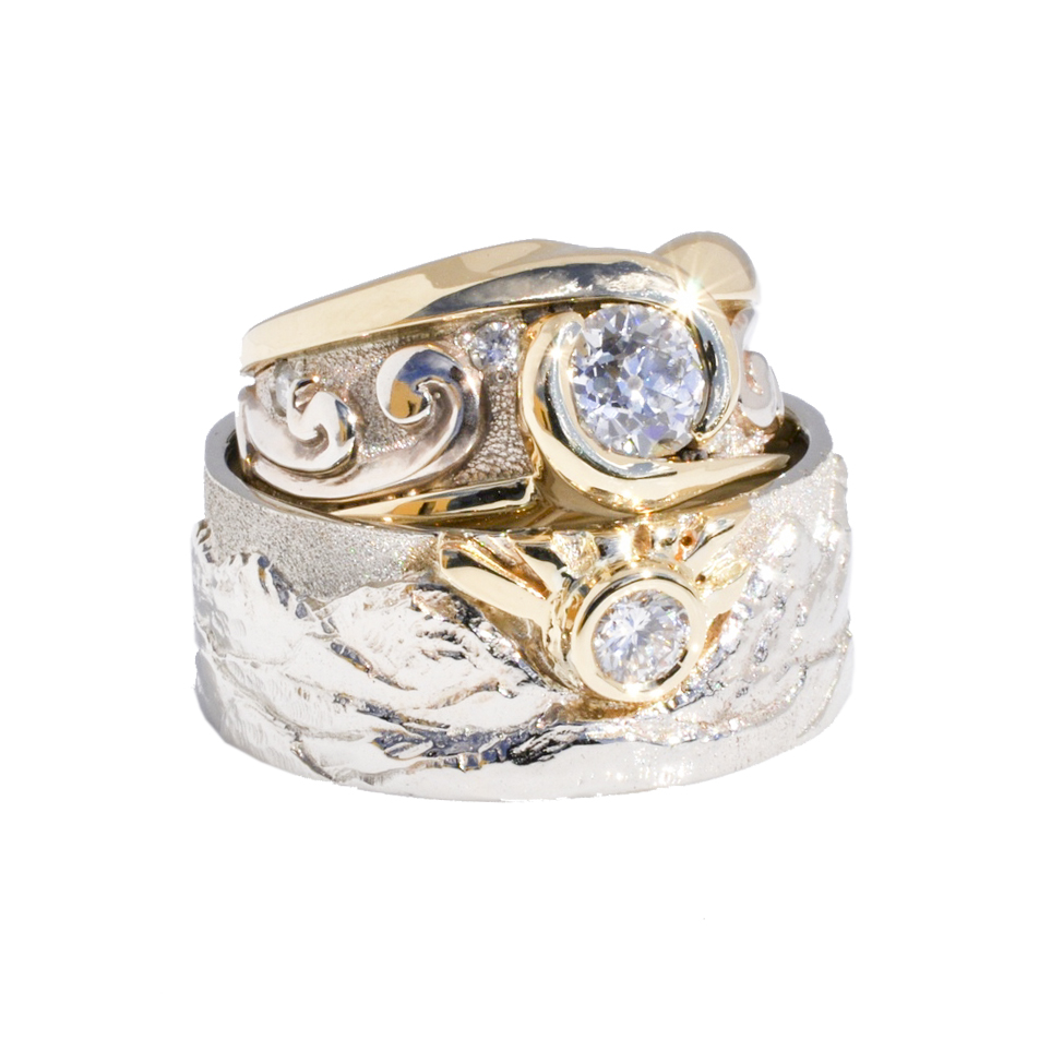 14k White Gold Scroll Ring and 18k Yellow Gold Bands with Diamonds by Waylon Rhoads Jewelry