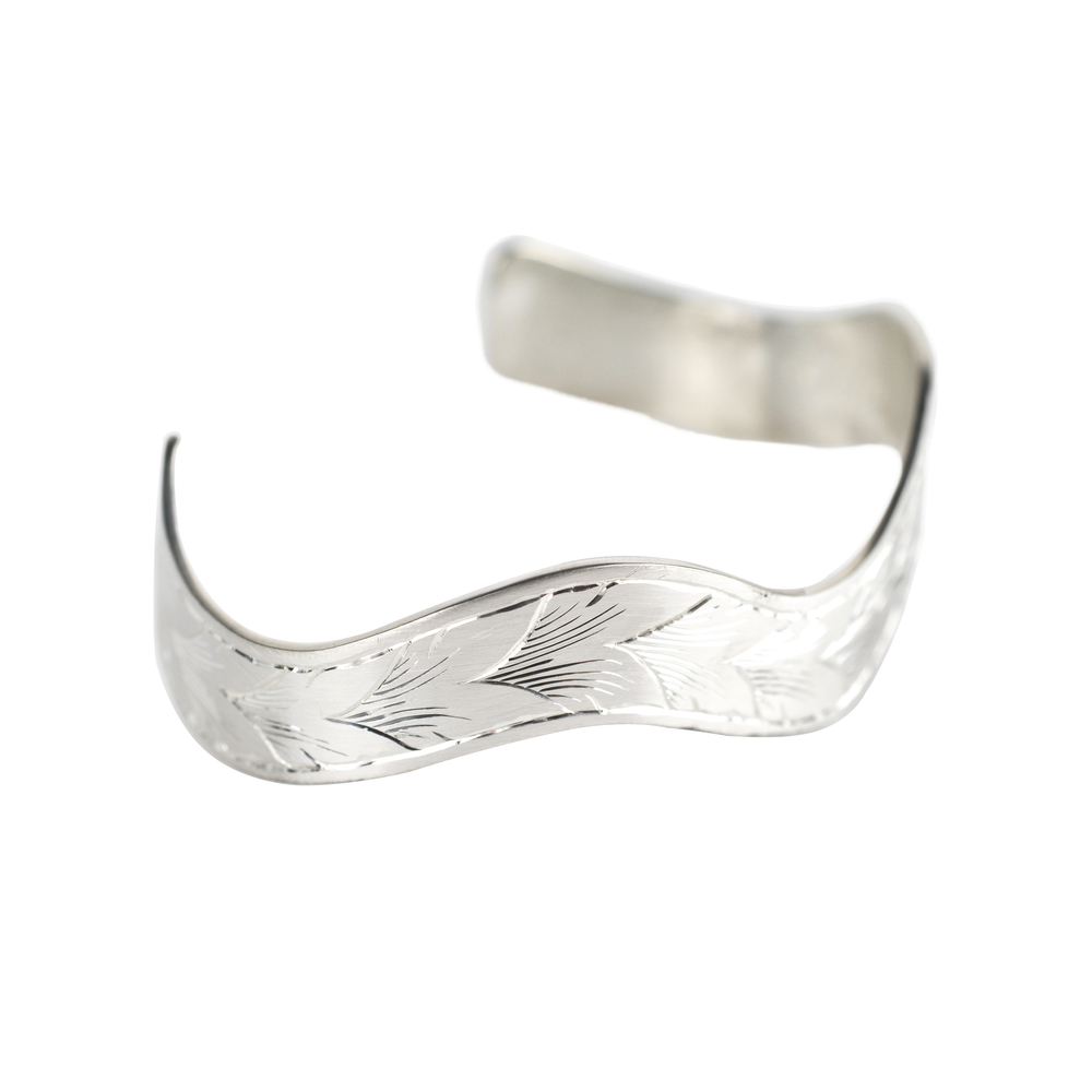 Hand Engraved Wave Cuff by Waylon Rhoads Jewelry