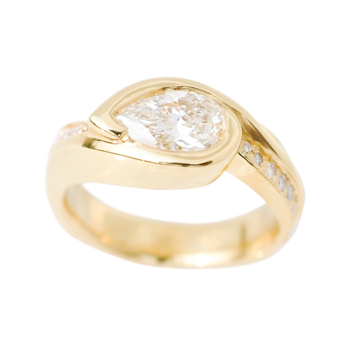 22k Gold Ring with 1.01 Pear Shaped Diamond and .18cttw Diamond Melee by Waylon Rhoads Jewelry