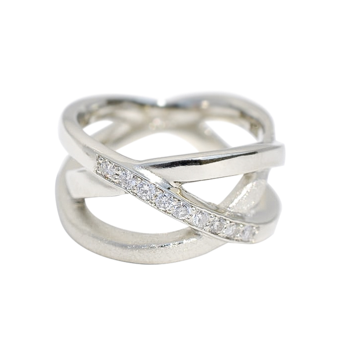 White Gold Wedding band with Diamonds by Waylon Rhoads Jewelry