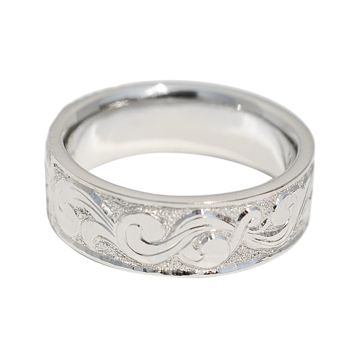 Hand Engraved Men's Wedding band by Waylon Rhoads Jewelry