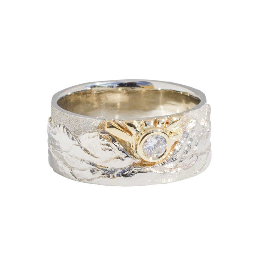 Cascade Mountain Landscape Ring 18k gold, 14k white gold, and .33 carat round brilliant diamond
