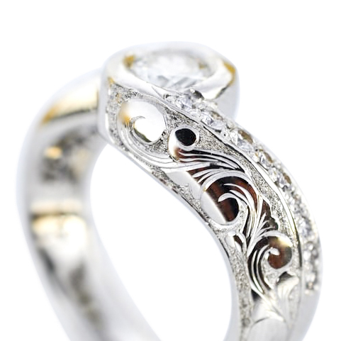 Hand Engraved Scroll Engagement Ring with Diamonds by Waylon Rhoads Jewelry
