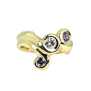 Gold Ring with Purple Sapphires and Diamond by Waylon Rhoads Jewelry