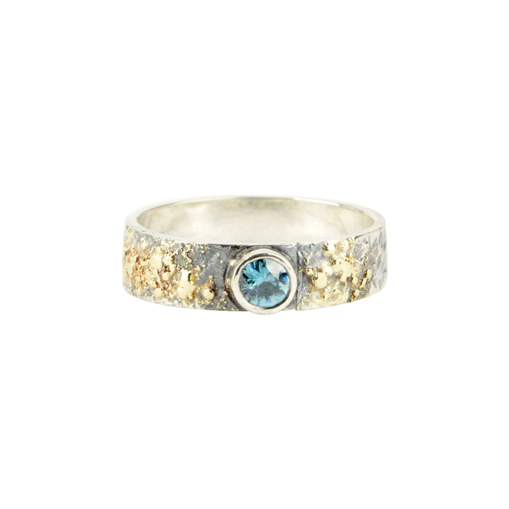 Gold Fusion Ring with Blue Zircon