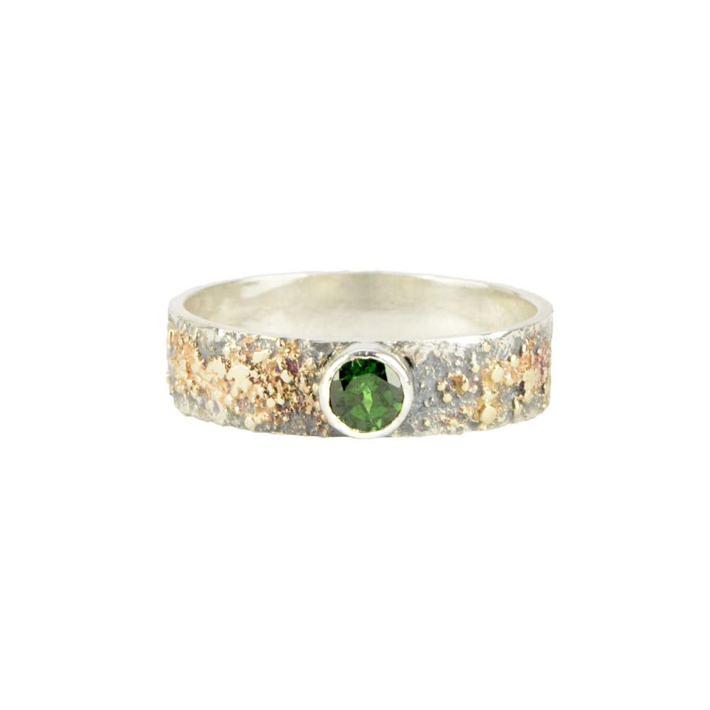 Gold Fusion Ring with Tsavorite Garnet
