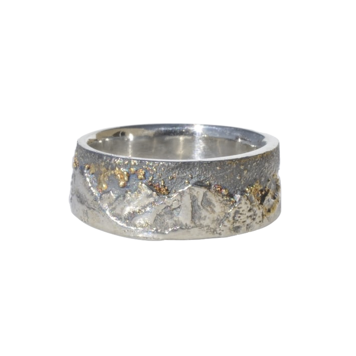 Sterling Silver Mountain Ring with 18k Gold FusionGold Fusion