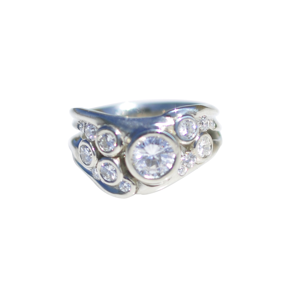 14k White Gold Bezel Set Diamond Ring