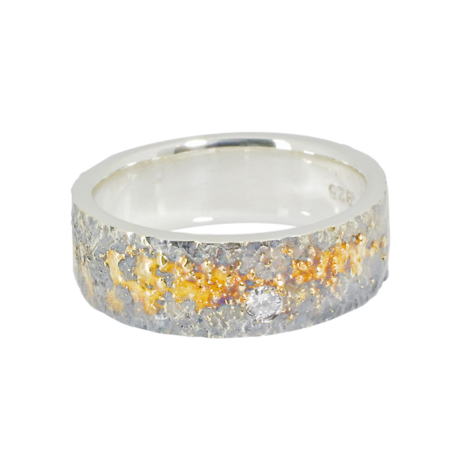 Sterling Silver band with 18k Gold Fusion and Diamond