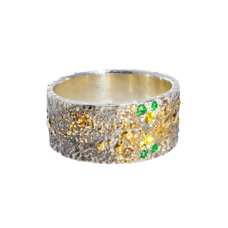 Mens Gold Fusion Ring with Yellow Sapphires, Diamonds and Emeralds