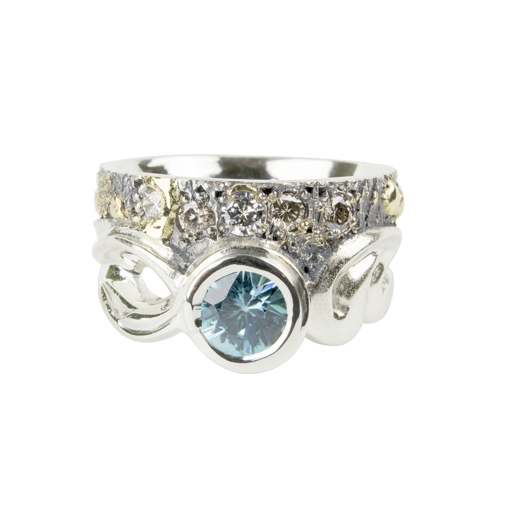 Blue Zircon Gold Fusion Ring
