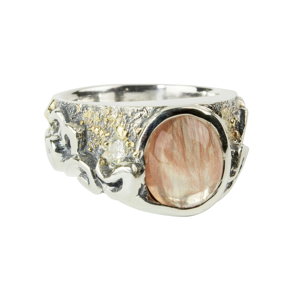 Waylon Rhoads Original Sunstone and Diamond Ring