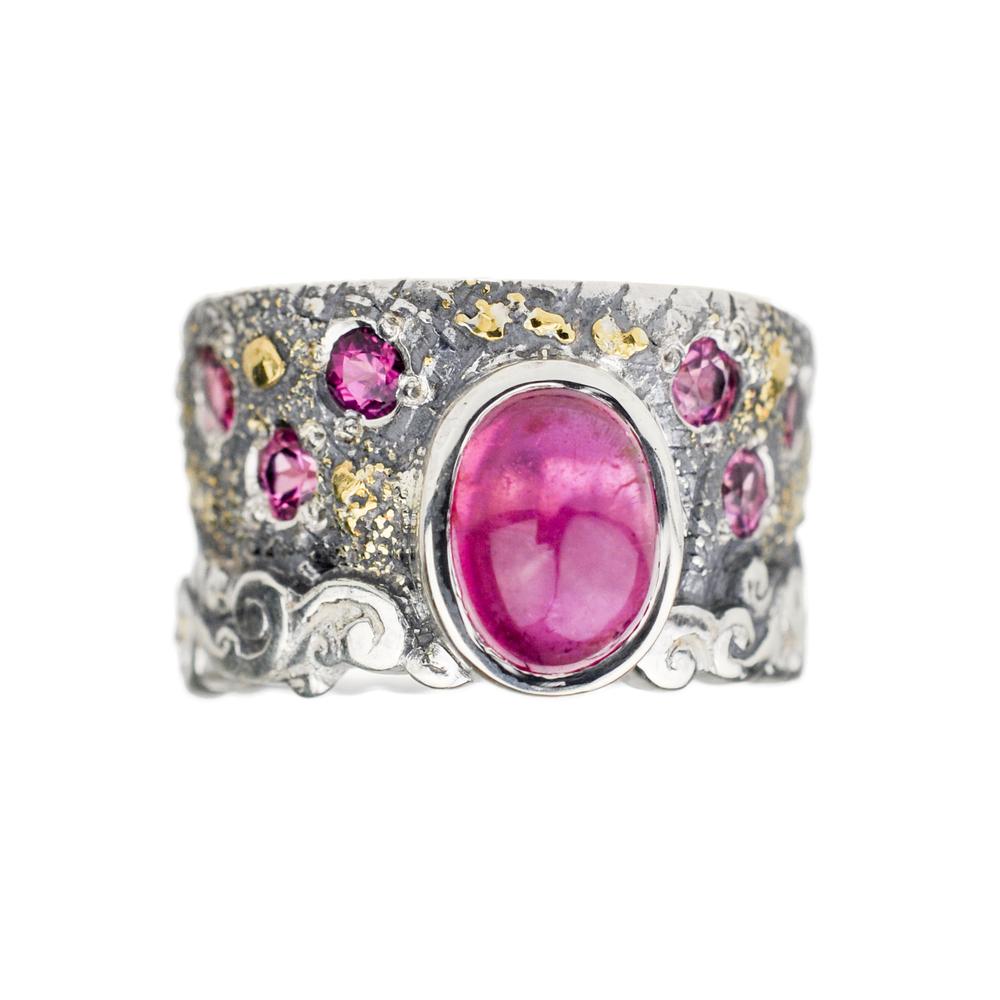 Pink Tourmaline Fusion Scroll Ring