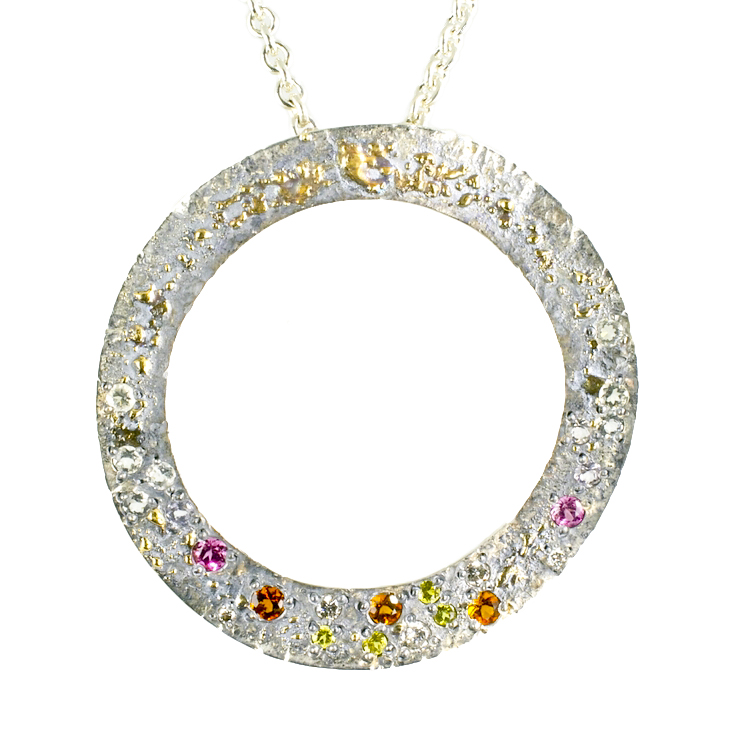 18k Gold Fusion Circle Pendant with multi-colored Gemstones