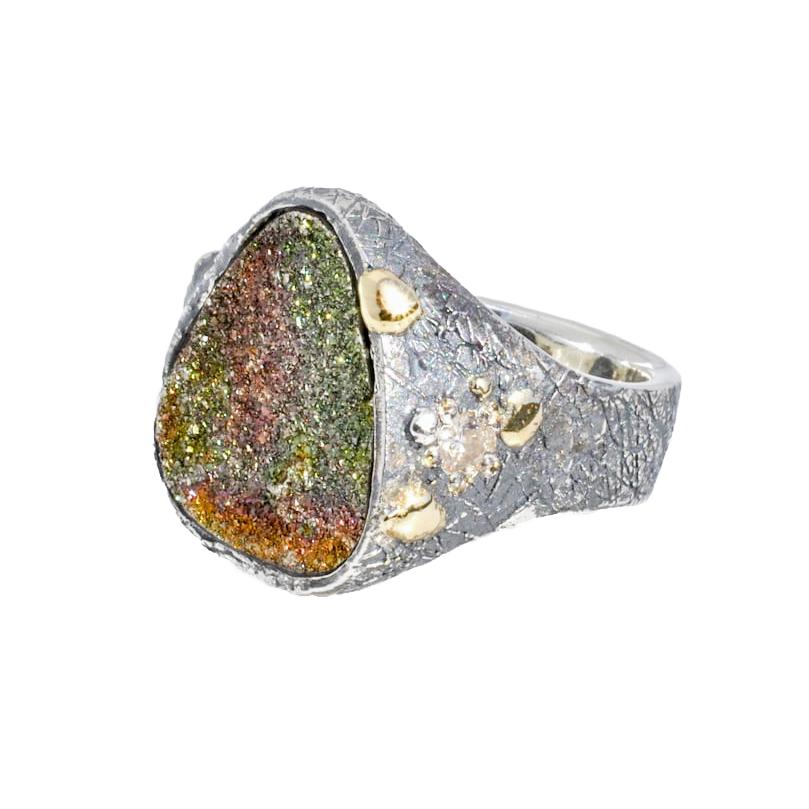 Cosmic Druzy Quartz Ring with .20 ct. diamond