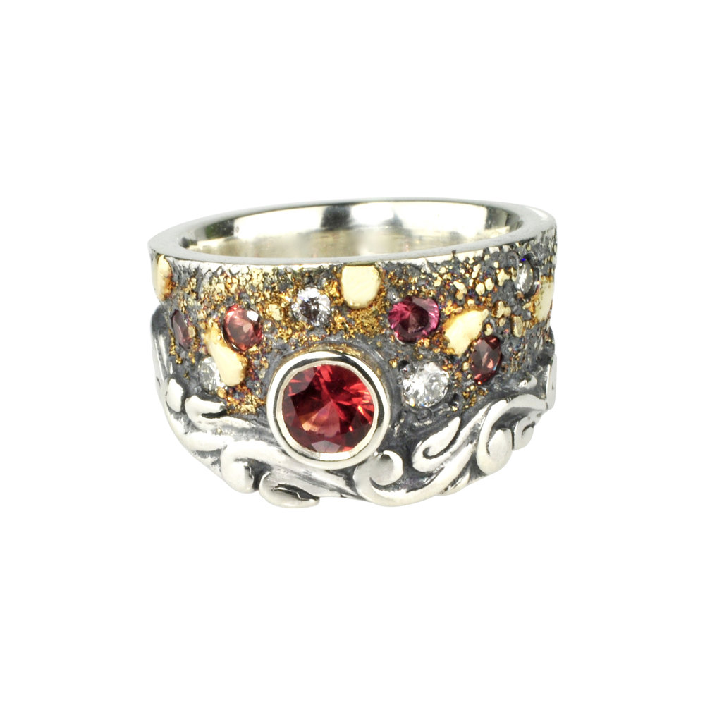 Red-Orange Sapphire Fusion Scroll Ring