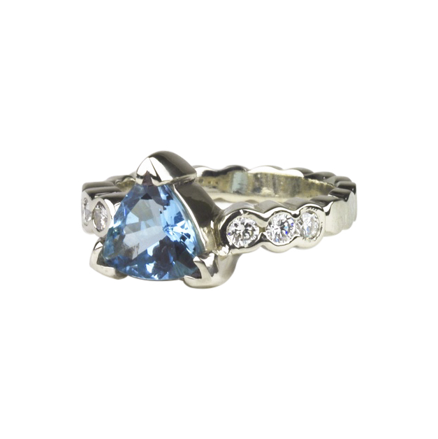 Aquamarine and Diamond Wedding Ring