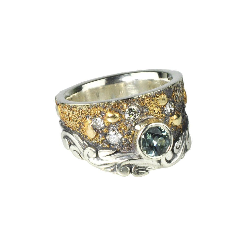 Montana Sapphire Fusion Scroll Ring