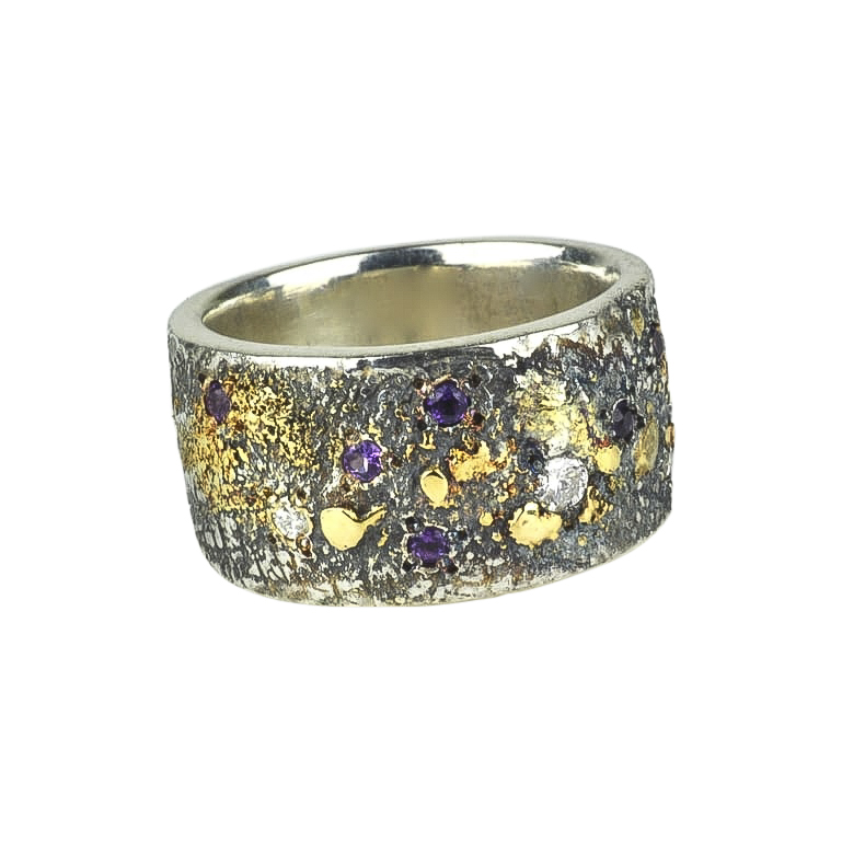 Amethyst and Diamond Fusion Scroll Ring
