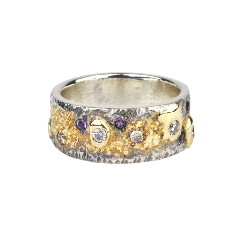 18k Gold Fusion Ring with Amethysts and Diamonds
