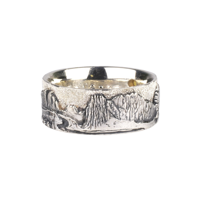 Smith Rock and Mt. Hood Wedding Set with Gold Fusion