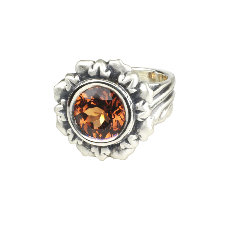 Hessonite Garnet Flower Ring