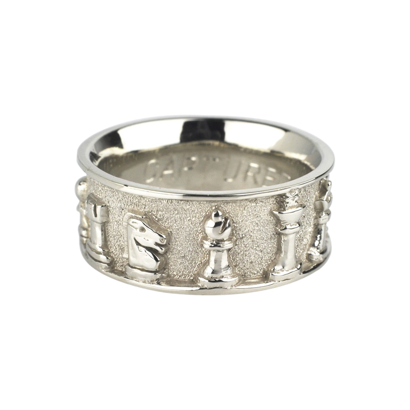 10k White Gold Chess Ring