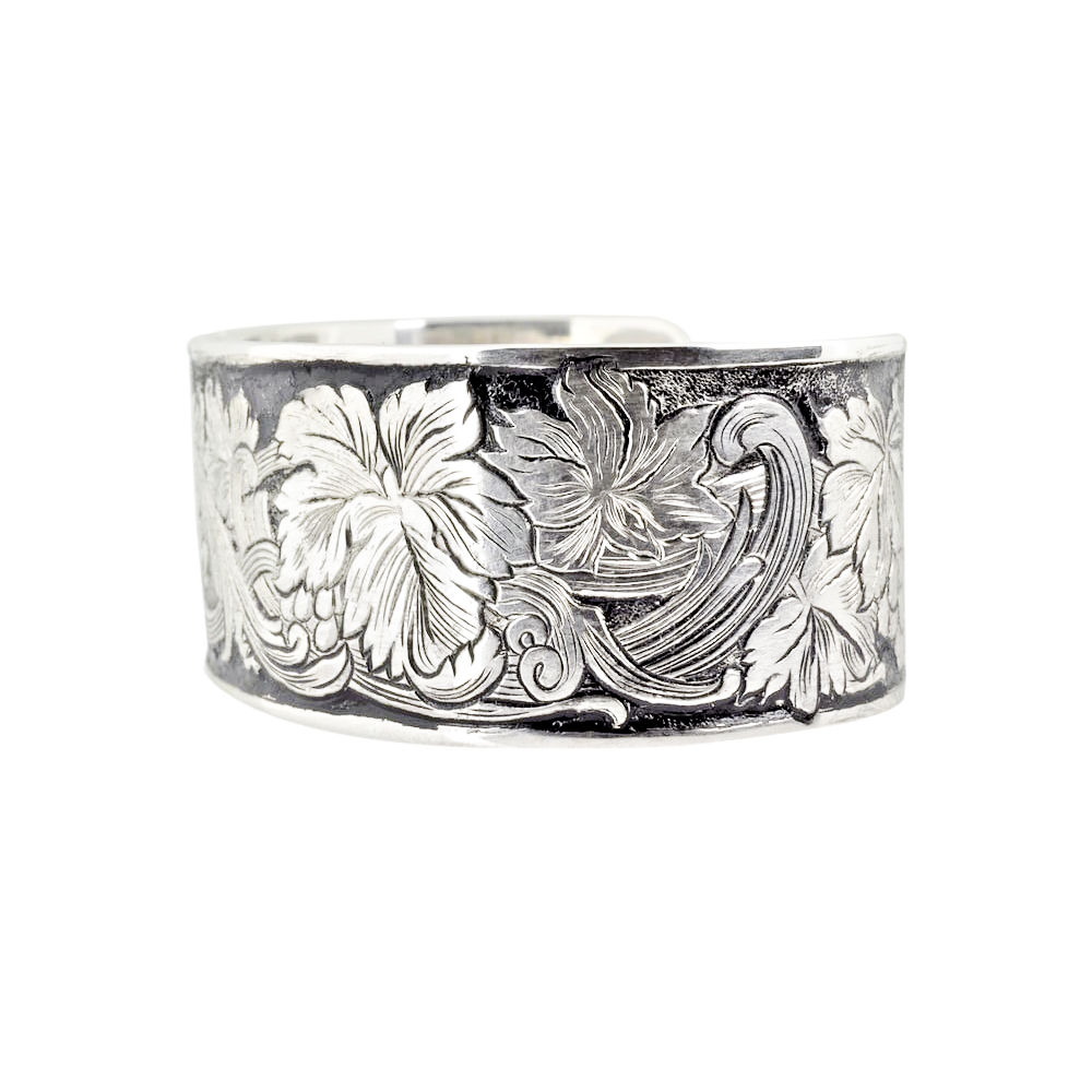 Hand Engraved Sterling Silver Grape Vine and Scroll Cuff