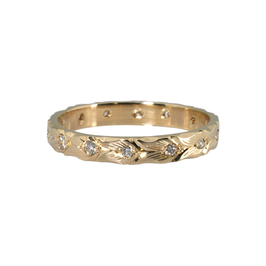 Hand engraved 14k Yellow Gold and Diamond Band