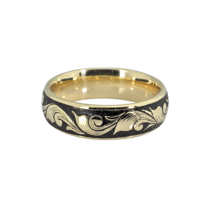 Hand Engraved Leaf and Scroll 14k Gold Ring
