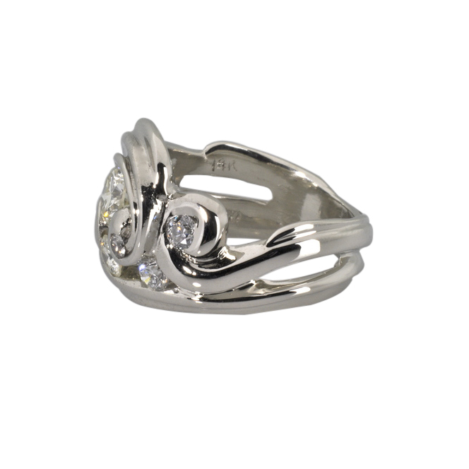 14k White Gold Scrolls of Love Ring featuring 1.25cttw Diamonds