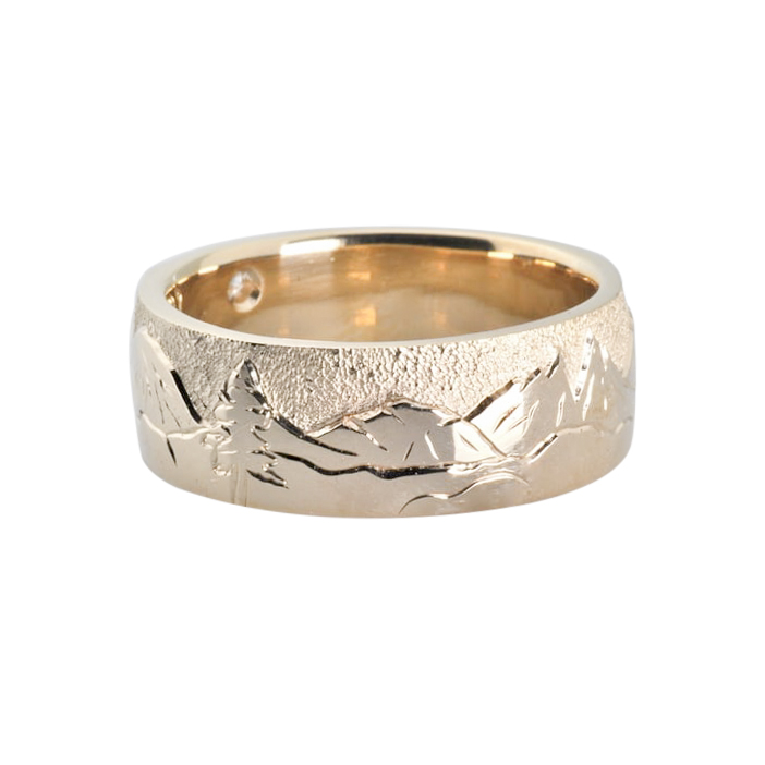 Hand Engraved Gold Landscape Ring with Fish