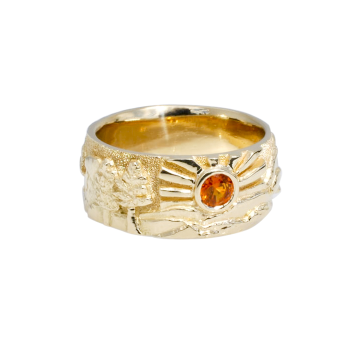 Gold Landscape Ring with Sun