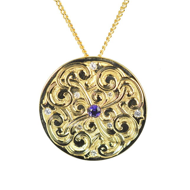 Gold Hand Engraved Pendant with diamonds and a Purple Sapphire by Waylon Rhoads Jewelry