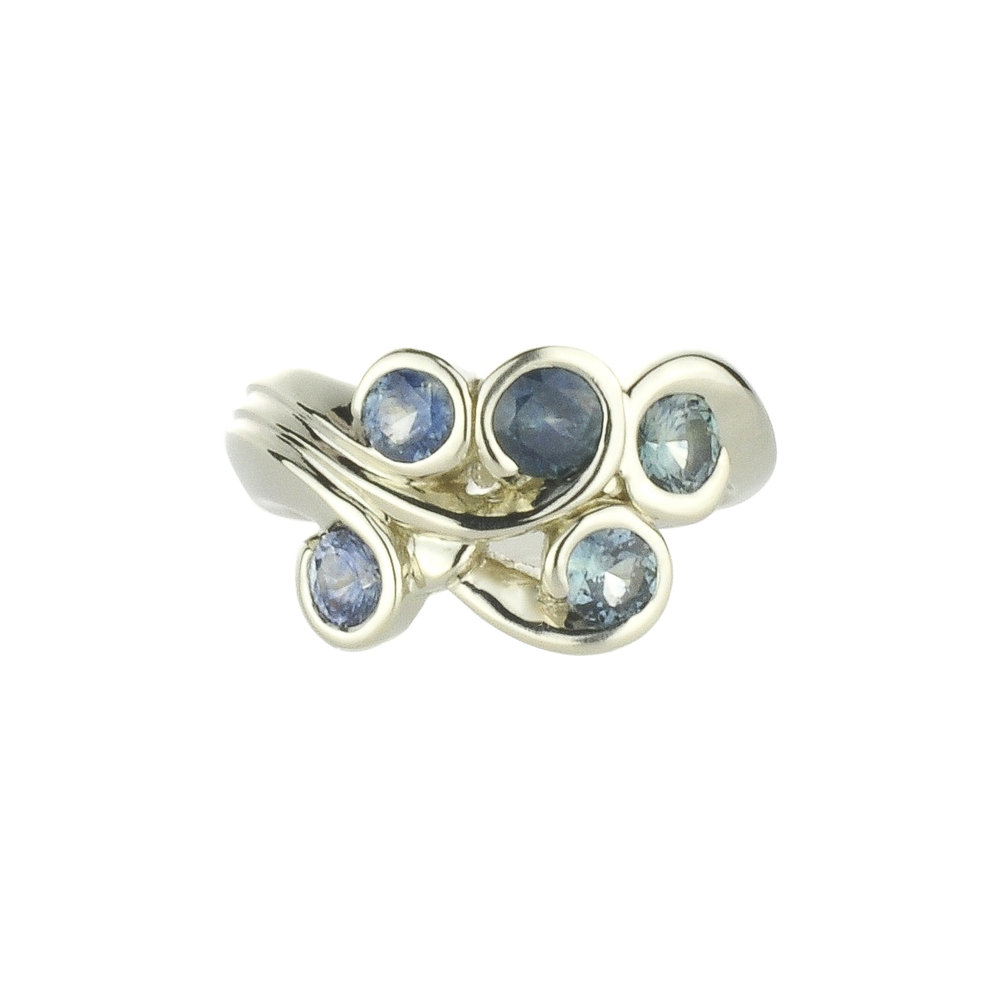 14k White Gold Super Sexy Swirl Ring with Montana Sapphires by Waylon Rhoads Jewelry